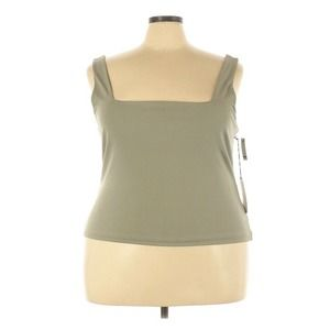 Leith Square Neck Tank Sage Green Stretch